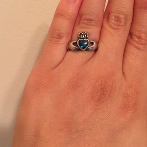 Jewelry - Silver Claddagh Ring with Turquoise Colored Heart